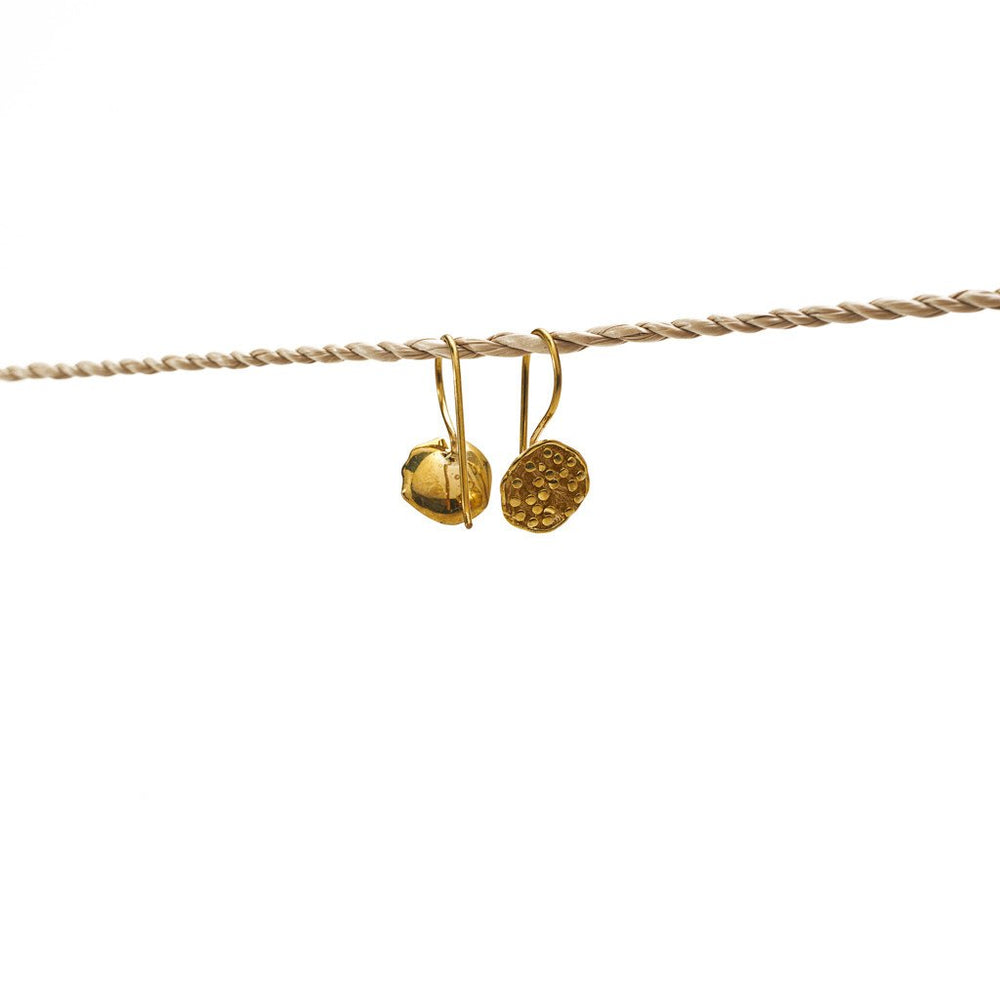 Load image into Gallery viewer, Earring Lotus Seed Flower Hook Brass Gold
