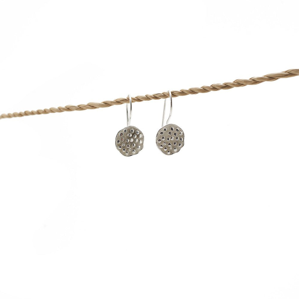 Load image into Gallery viewer, Earring Lotus Seeds Hook Silver Plated