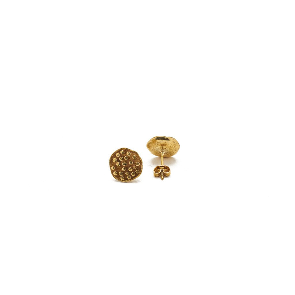 Earring Lotus Seeds Stud Brass Gold Back