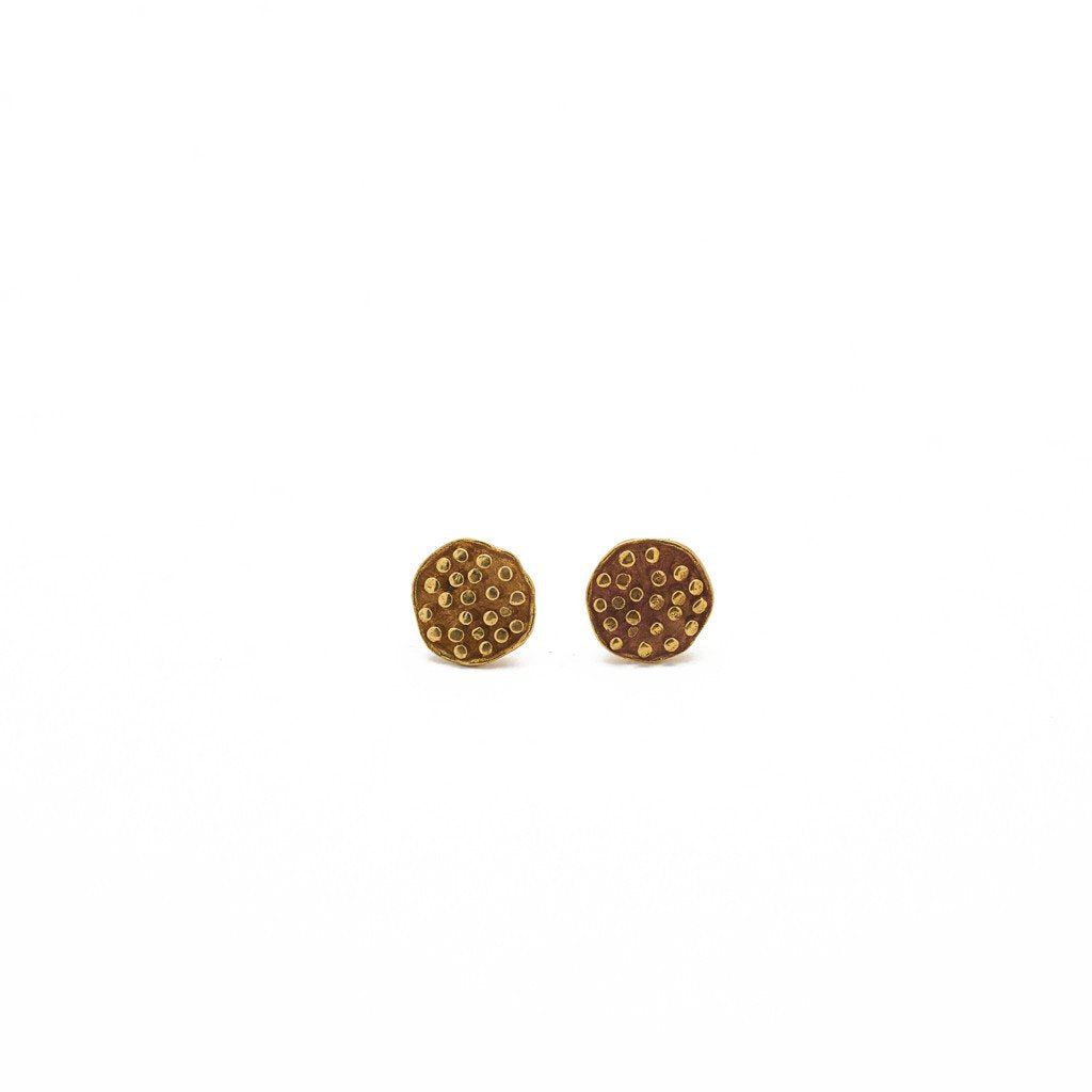 Earring Lotus Seeds Stud Brass Gold Front