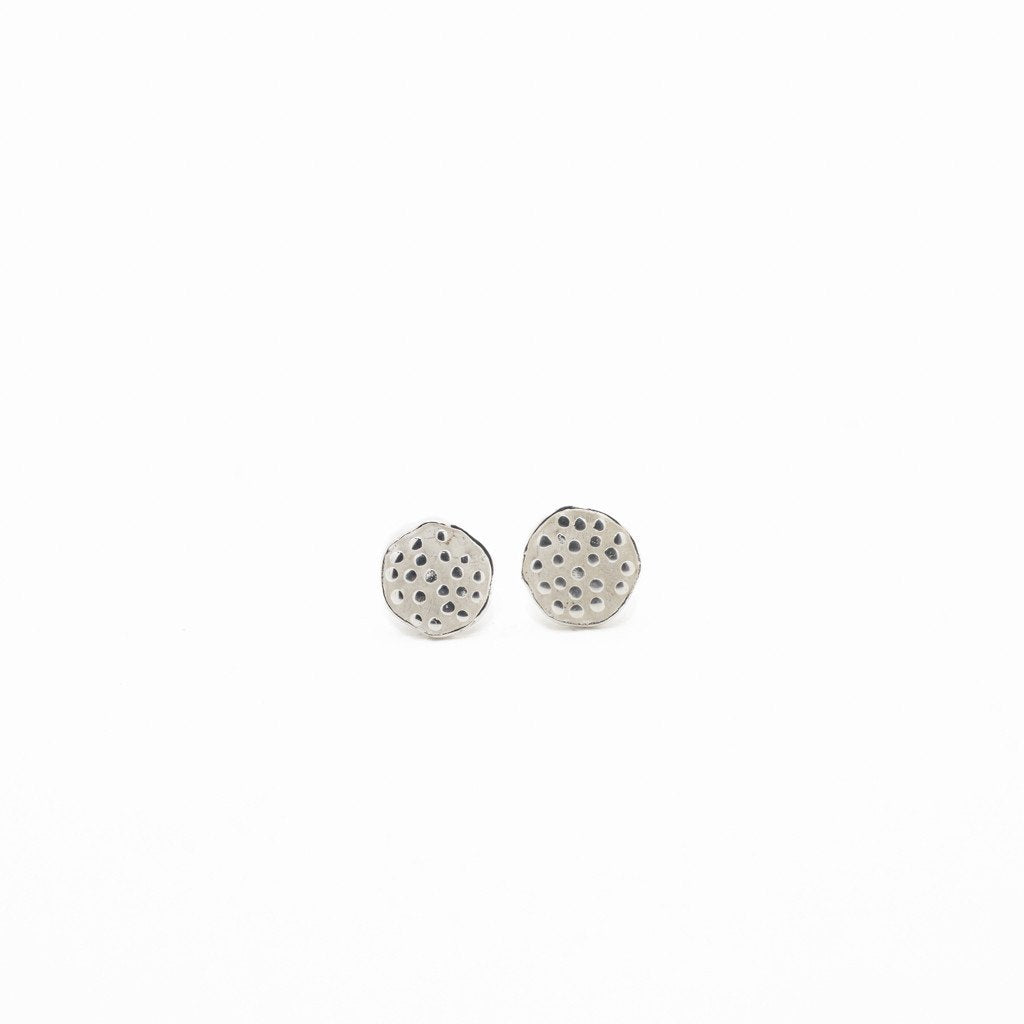 Earring Lotus Seeds Stud Brass Silver Plated Front