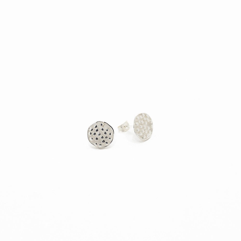 Load image into Gallery viewer, Earring Lotus Seeds Stud Brass Silver Plated