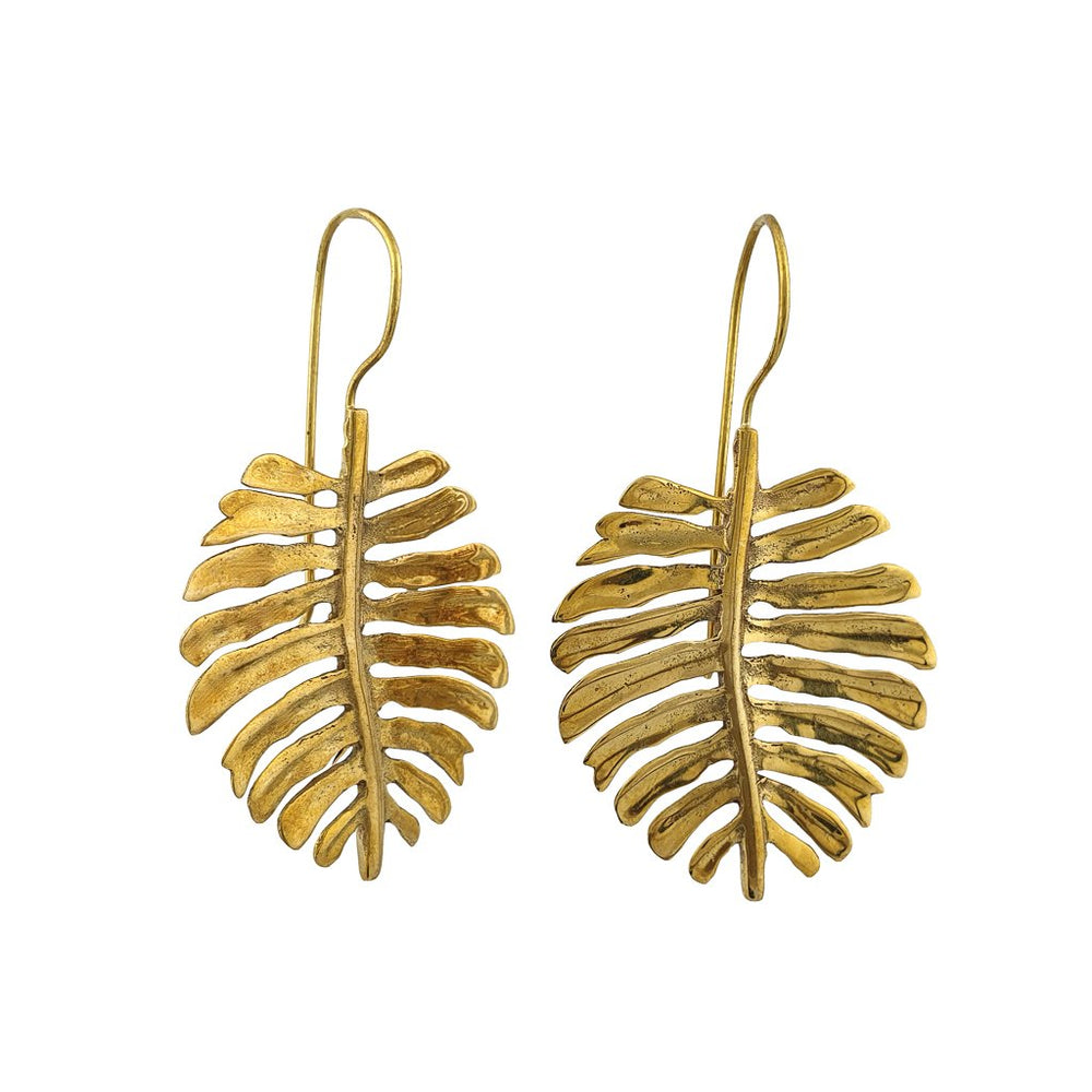 Earring dangle Monstera Brass boho tropical golden jewellery