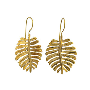 Load image into Gallery viewer, Earring dangle Monstera Brass boho tropical golden jewellery