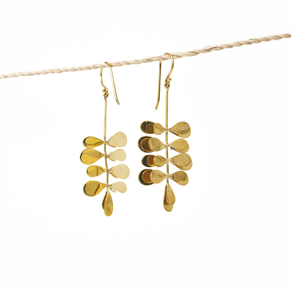 Load image into Gallery viewer, Earring Moringa Leaf Brass Gold Back