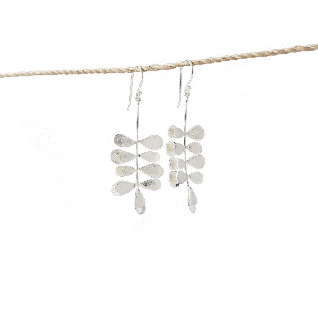 Earring Moringa Leaf Brass Silver Plated