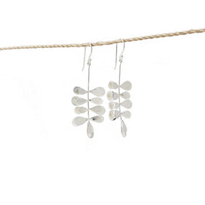 Load image into Gallery viewer, Earring Moringa Leaf Brass Silver Plated