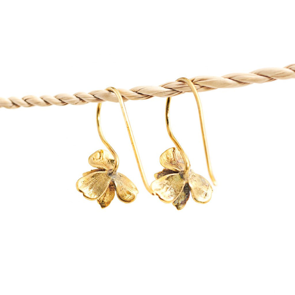 Earring Orchid Hook Short Gold Back