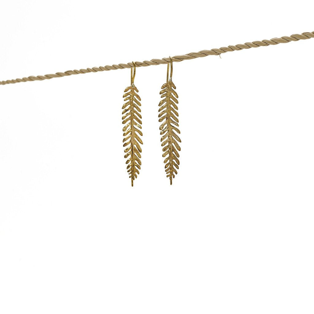 Earring Paku Long Hook Brass Gold