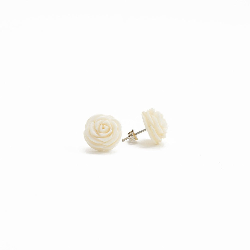 Earring Rose Flower Bone Carved Stud