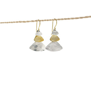 Load image into Gallery viewer, Earring Triple Triangle gold - silver plated mix
