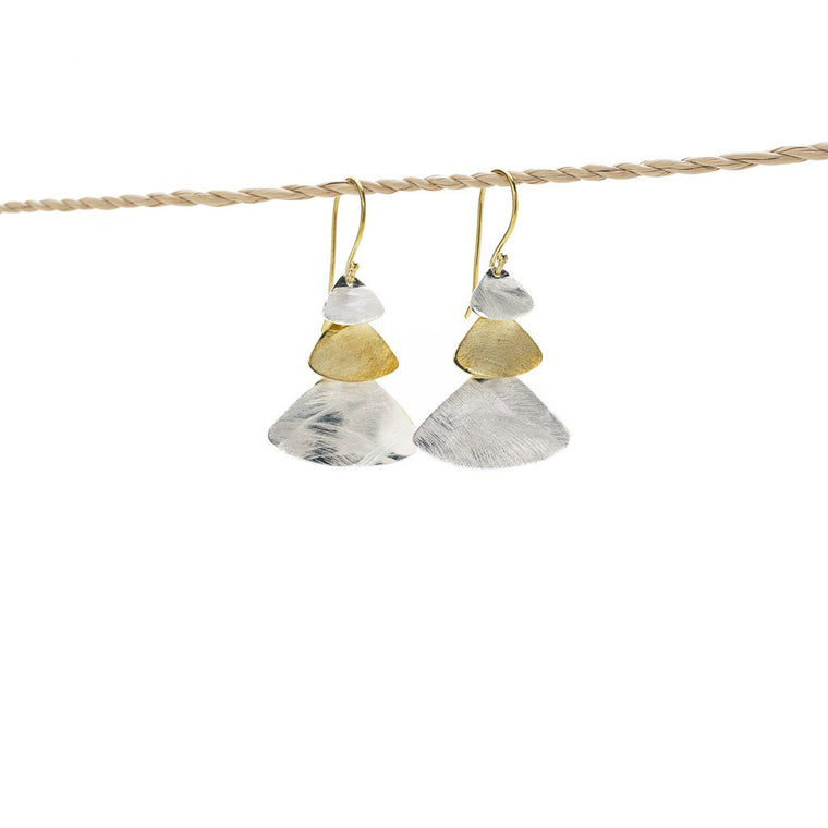Earring Triple Triangle gold - silver plated mix