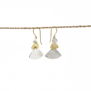 Load image into Gallery viewer, Earring Triple Triangle gold - silver plated mix back