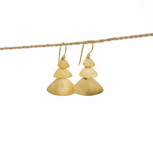 Load image into Gallery viewer, Earring Triple Triangle hook gold brass