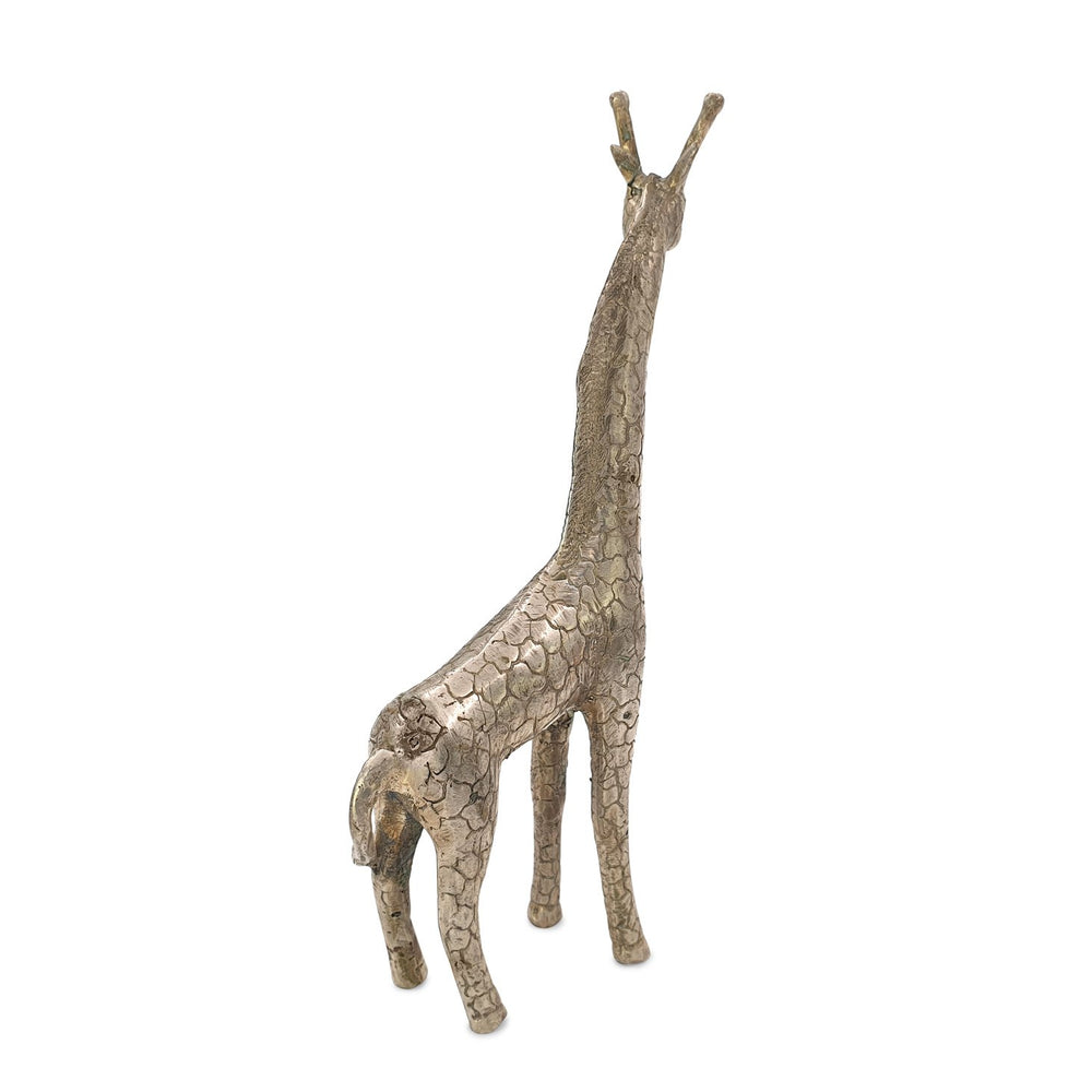 Load image into Gallery viewer, Brass statue giraffe silver back view