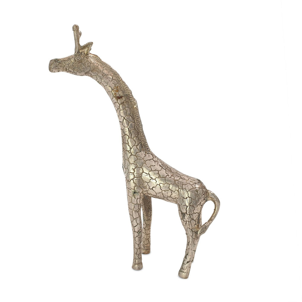 Load image into Gallery viewer, Brass statue giraffe silver side view 1