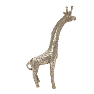 Load image into Gallery viewer, Brass statue giraffe silver side view