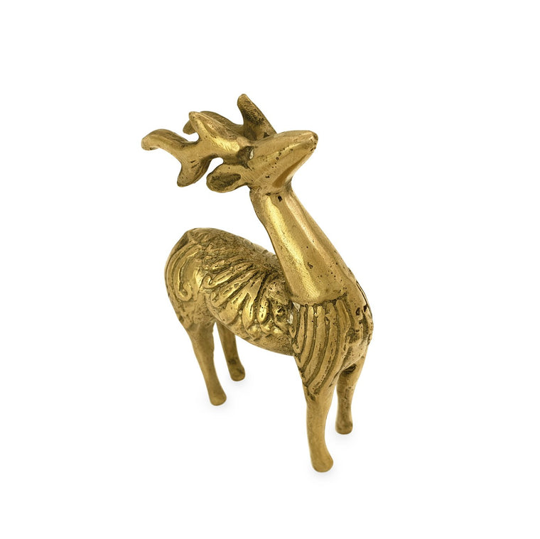 Statue brass mini deer standing gold angle view