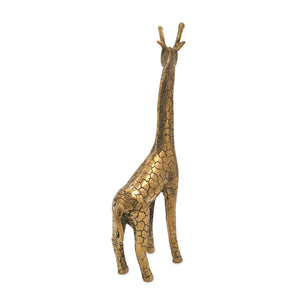 Load image into Gallery viewer, Brass statue giraffe gold back view