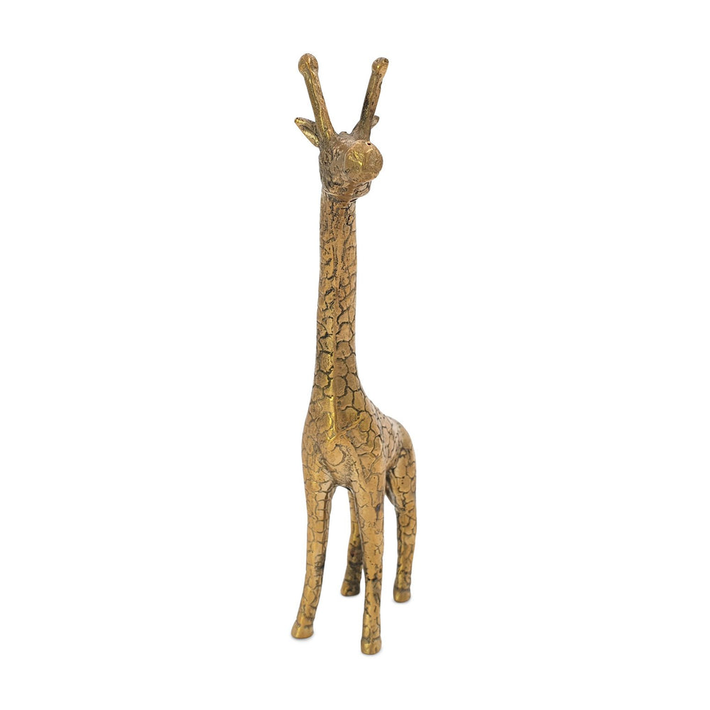 Load image into Gallery viewer, Brass statue giraffe gold front view