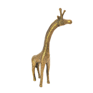 Load image into Gallery viewer, Brass statue giraffe gold angle view