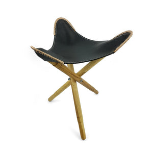 Load image into Gallery viewer, Folding Chair Leather and Teak Black Large