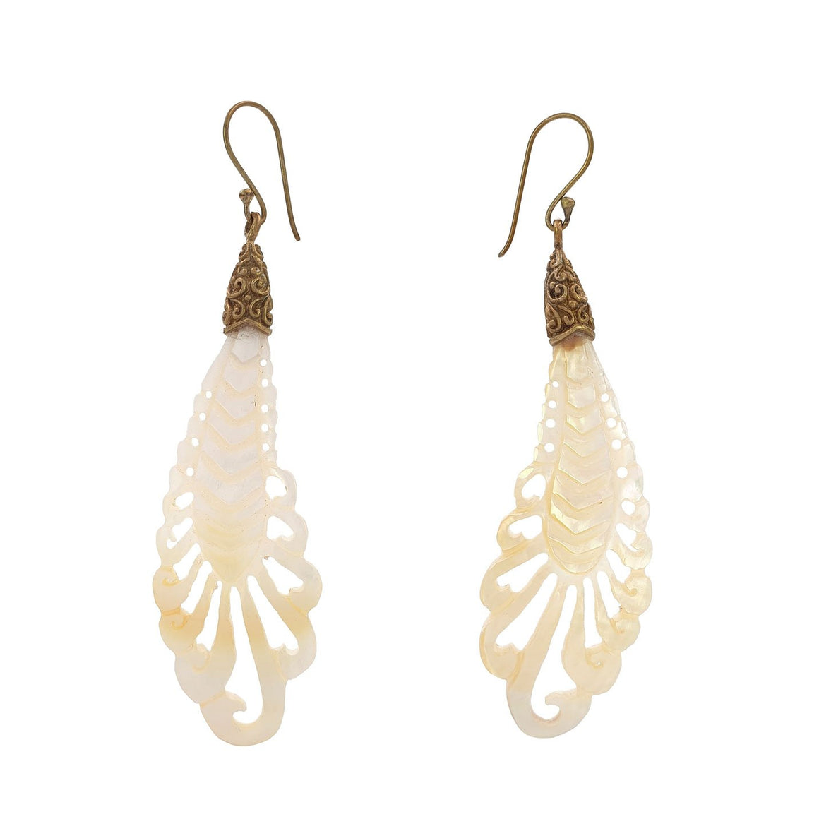 Earring Balinese Carving Feather