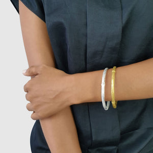 Load image into Gallery viewer, Handmade brass boho bamboo bangle on model