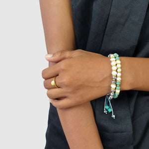 Load image into Gallery viewer, Handmade pearl boho bracelet crystals on model