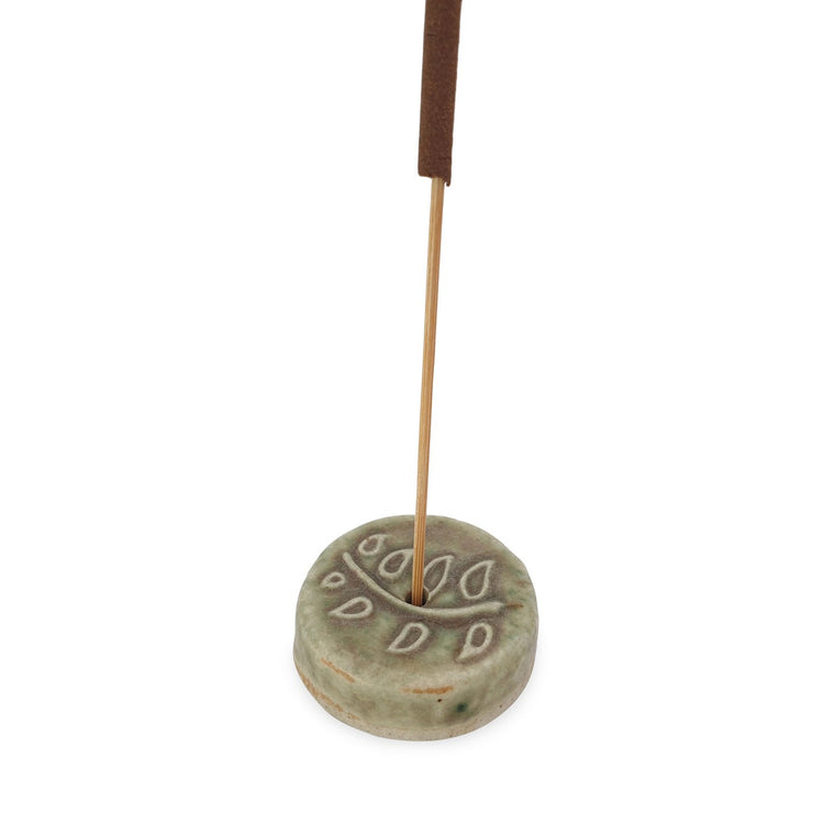 Incense holder ceramic branch motif with incense
