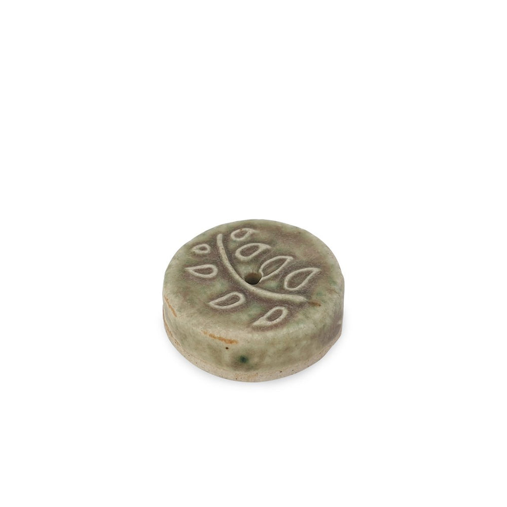 Load image into Gallery viewer, Incense holder ceramic branch motif dark green