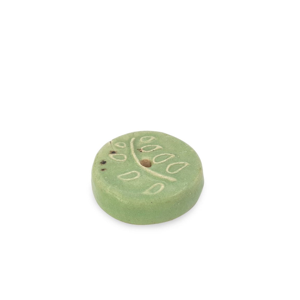 Load image into Gallery viewer, Incense holder ceramic branch motif green