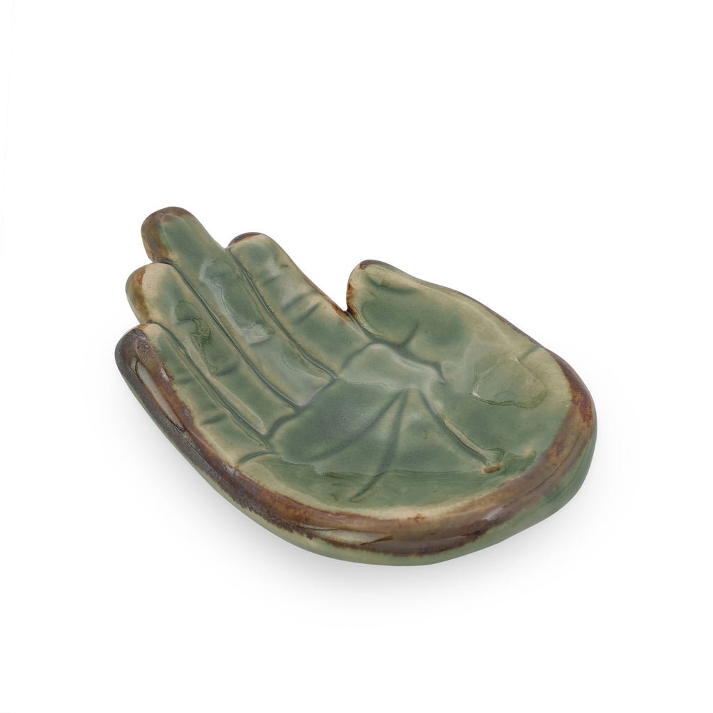 Incense holder ceramic Hand Green L side view