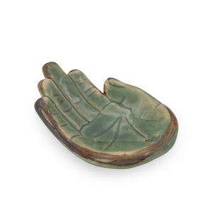 Load image into Gallery viewer, Incense holder ceramic Hand Green L side view