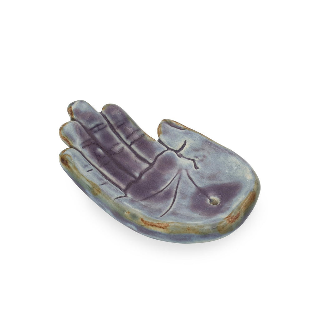 Load image into Gallery viewer, Incense holder ceramic Hand Purple M side view