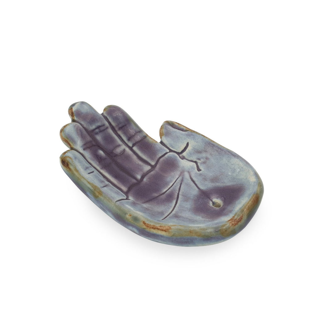Incense holder ceramic Hand Purple M side view