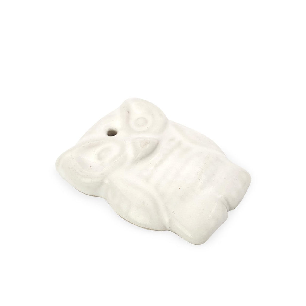 Incense holder ceramic owl white