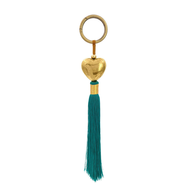 Keychain brass heart with tosca green tassel