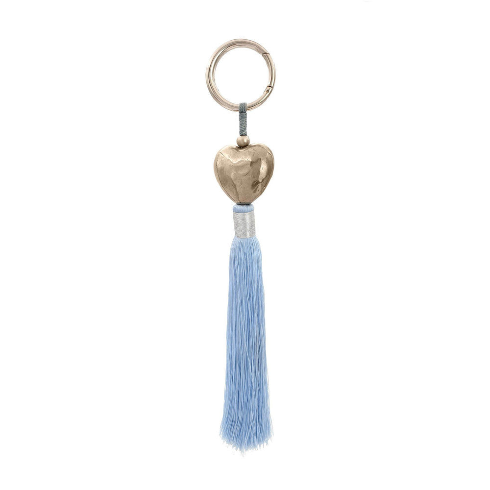 Load image into Gallery viewer, Keychain brass heart silver plated with blue tassel