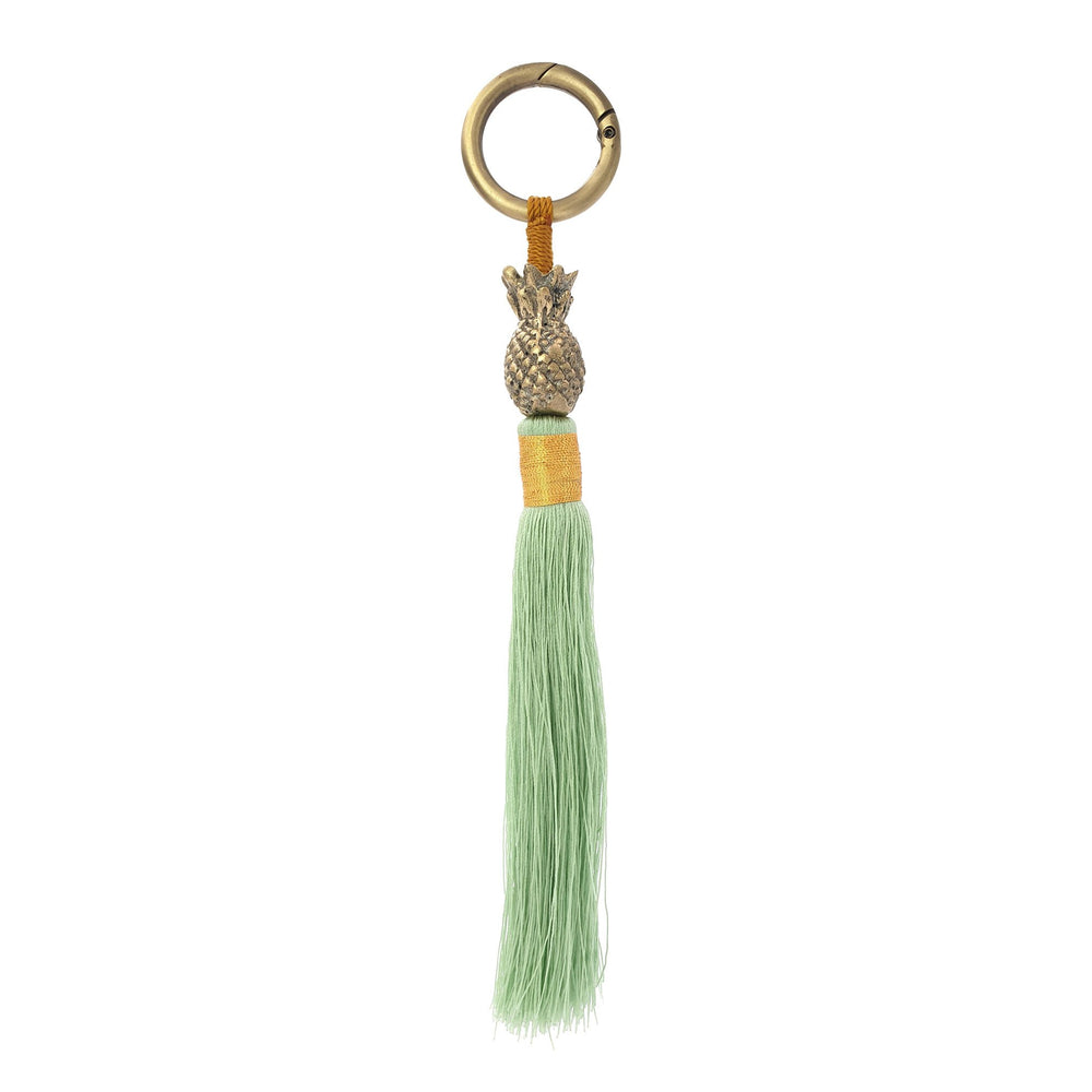 Load image into Gallery viewer, Keychain brass gold pineapple light-green tassel S