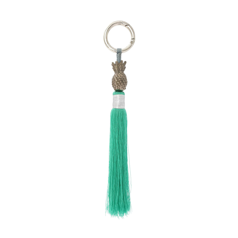 Load image into Gallery viewer, Keychain brass silver pineapple tosca green tassel S