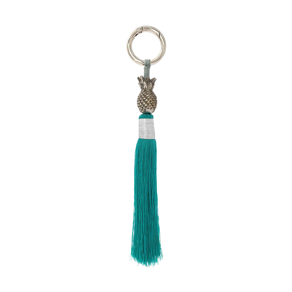 Keychain brass silver pineapple turquoise tassel S