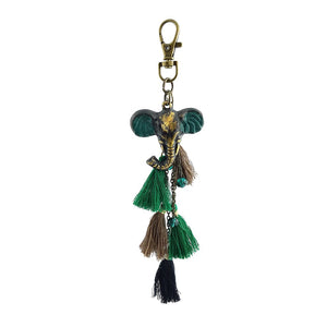 Load image into Gallery viewer, Keychain Tribal Tassel Elephant Head