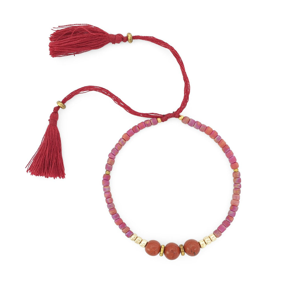 Load image into Gallery viewer, Lucky gemstone bracelet bordeaux tassel front view