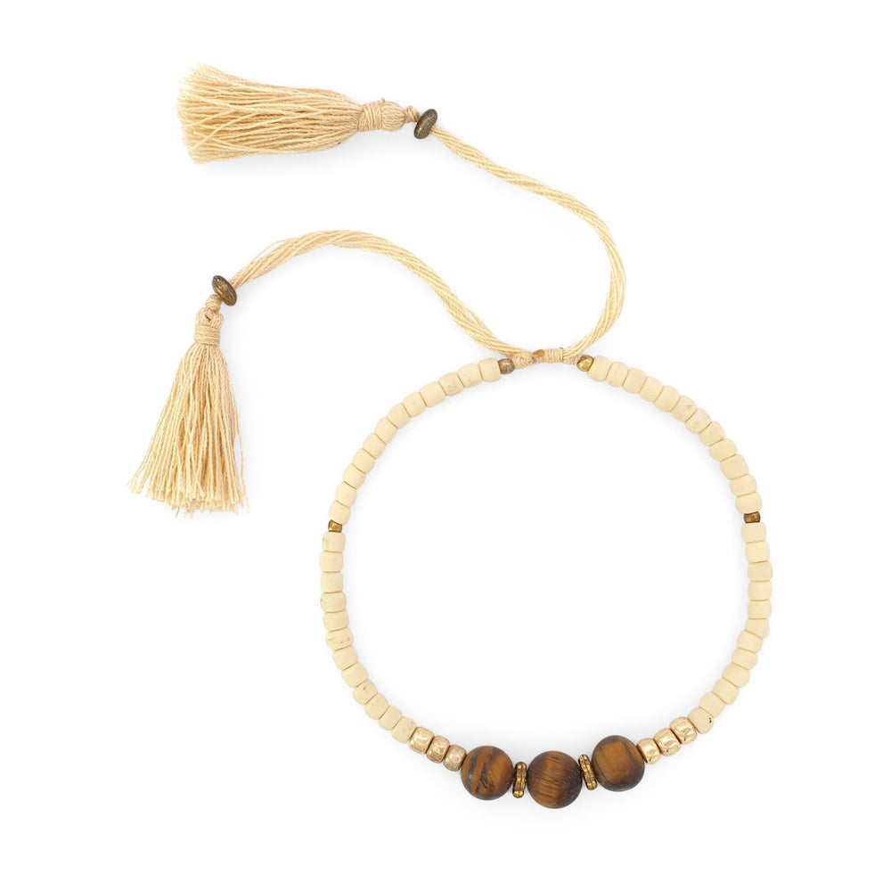 Load image into Gallery viewer, Lucky gemstone bracelet cream tassel front view