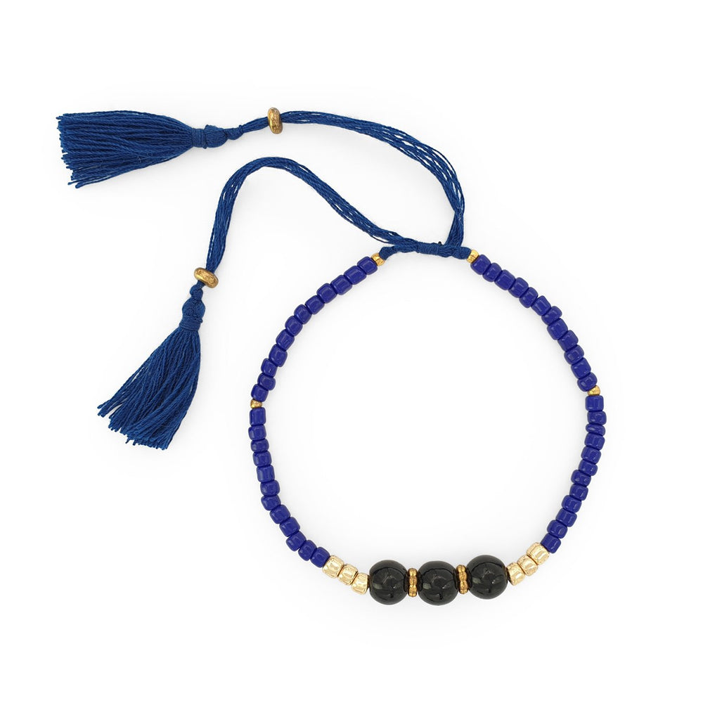 Load image into Gallery viewer, Lucky gemstone bracelet dark blue tassel front view