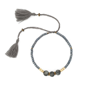 Load image into Gallery viewer, Lucky gemstone bracelet grey tassel front
