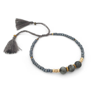 Load image into Gallery viewer, Lucky gemstone bracelet grey tassel side view