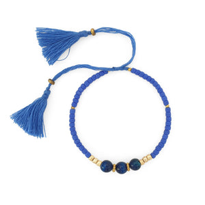 Load image into Gallery viewer, Lucky gemstone bracelet light blue tassel front view