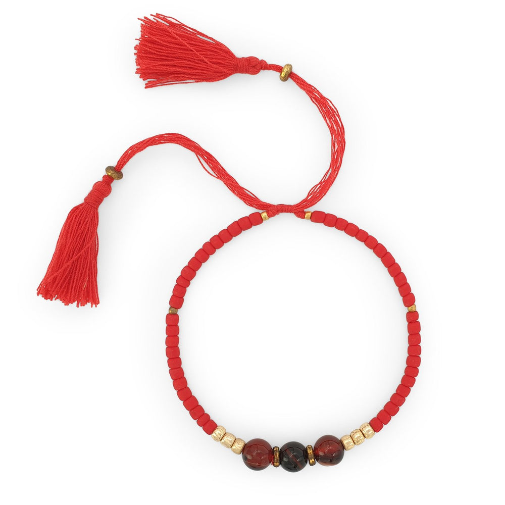 Load image into Gallery viewer, Lucky gemstone bracelet red tassel front view